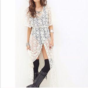 Lace Maxi Button-Down Dress/Cardigan